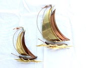 Vintage Sailboats Wall Decor in Brass and Copper Set of Two