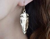 Gold Arrowhead Earrings