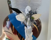 New Years Eve fascinator silver fascinator gray fascinator with rhinestone accent cruelty free ostrich feathers rooster comb feathers