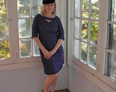 Royal Blue Embroidered Sheath Dress/Vintage 1950s/Body Skimming Retro Day Dress/Size Small to Medium