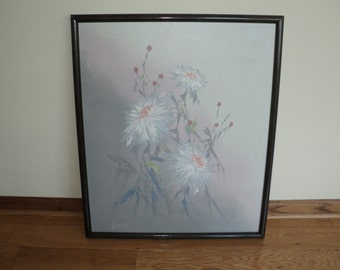 Original Oil Painting on Canvas, Ethereal floral still life with a marvelous muted gray background, framed in 1987 in Mint Condition