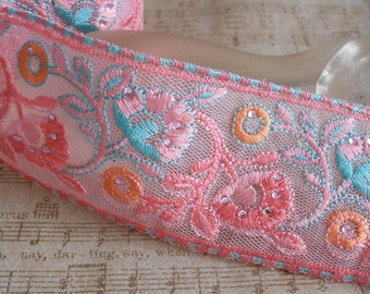 Pink Stitched Beaded Floral Trim