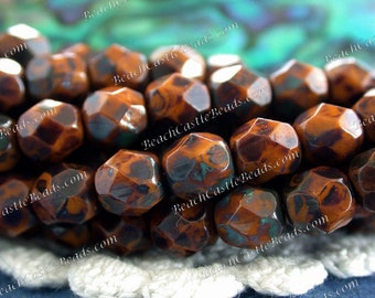 6mm Goldenrod Picasso Firepolished Beads, Czech Glass Fire Polished Beads, Czech Glass Beads, Goldenrod Picasso   CZ-147