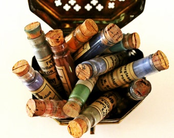 antique/vintage china paint glass vials, glass vials w/ corks, vintage paint supplies, antique paint