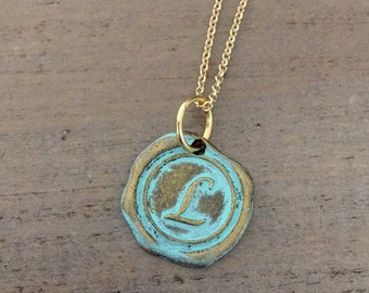 Wax Seal Necklace, Initial Jewelry, Personalized Necklace, Letter, L, Initial L