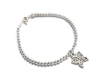 Silver Butterfly Bracelet, Butterfly Charm Bracelet, Silver Bead Bracelet, Silver Plated Jewellery UK,