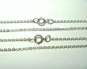 Sterling Silver Chain 16 inches, Flat Cable Chain with Spring Ring 1.5mm,