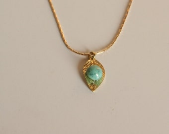 Turquoise Necklace Gold,Genuine Turquoise jewelry Gold -Turquoise pendant, Turquoise Teardrop,Necklace Gift,Gemstone Necklace,Leaf Necklace
