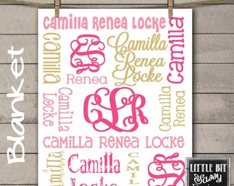 Personalized Baby Blanket Monogrammed Baby Blanket Name Blanket Receiving Blanket Baby Shower Gift Birth Announcement