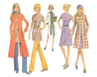 McCalls 2707 Vintage 1970s Sewing Pattern Size 16 Bust 38 Coat Dress Top Pants Step By Step Quickie