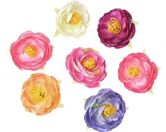 5 Paper Flowers 54x54mm - Fabric - Ships IMMEDIATELY  from California - A478
