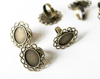 25 Vintage Oval Rings - Antique Bronze - Bezel Setting - Adjustable - 30mm Long - 25mm Wide - Ships IMMEDIATELY from California - A488
