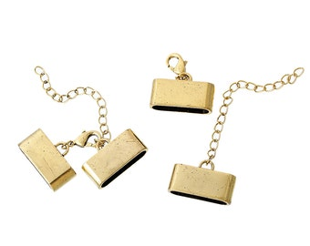 Gold Necklace Ends - Cord End Caps - Gold Tone - Rectangle - Fits 24x6mm Cord - 2 Sets - Ships IMMEDIATELY from California - FC146