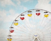 Ferris Wheel Photograph, Fair Wall Art, Nursery Decor, Primary Colors Wall Art,  Carnival Photography, Red, Yellow and Blue Artwork