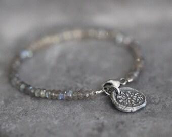 Labradorite Bracelet, Sterling Silver Charm, Botanical, Flower Charm, Gemstone Bracelet, Beaded Bracelet, Stacking, Dainty, Delicate, 4mm