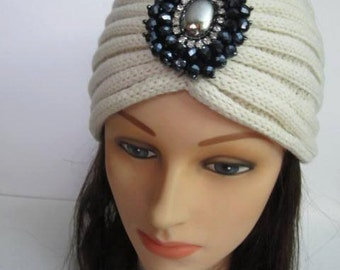 Knitted Turban Headband, White Beaded Headwrap, Earwarmer, White Head Wrap, Turban Beaded Head band, Women Gifts