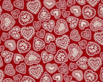 Makower/Andover - Scandi 3 - Hearts - Red