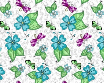 Blank Quilting - Day of the Dragonfly - Dragonfly Floral - White