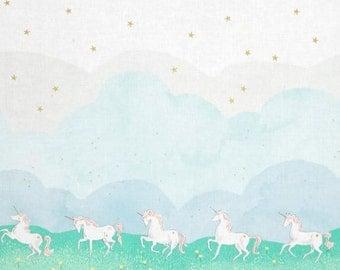 Michael Miller - Magic! by Sarah Jane - Unicorn Parade - Mint (Metallic)