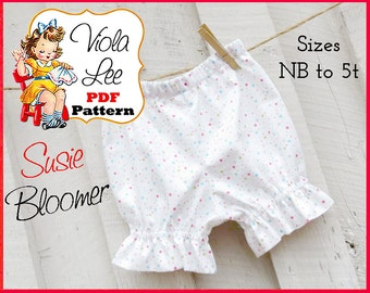 Susie..Baby Ruffle Bloomer pdf Pattern, Girl's Ruffle Capris Pattern, Baby Bloomer Sewing Pattern. INSTANT DOWNLOAD, Infant Bloomer Pattern