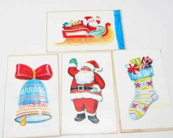 1950's Christmas Decals from Bon Ami Glass Gloss, Vintage Advertising Santa, Bell & Stocking