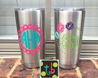 Personalized Monogram Insualted Yeti-Like Ozark Trail 20 oz 30 oz Stainless Steel Tumbler