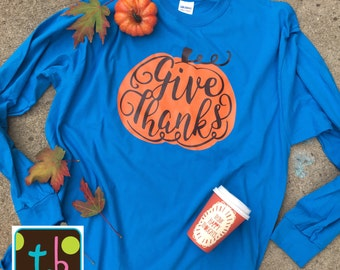 Personalized Monogram Long Sleeve Giv Thanks Pumpkin Thanksgiving Teacher Fall Tee Teachers Tee Teacher Tee