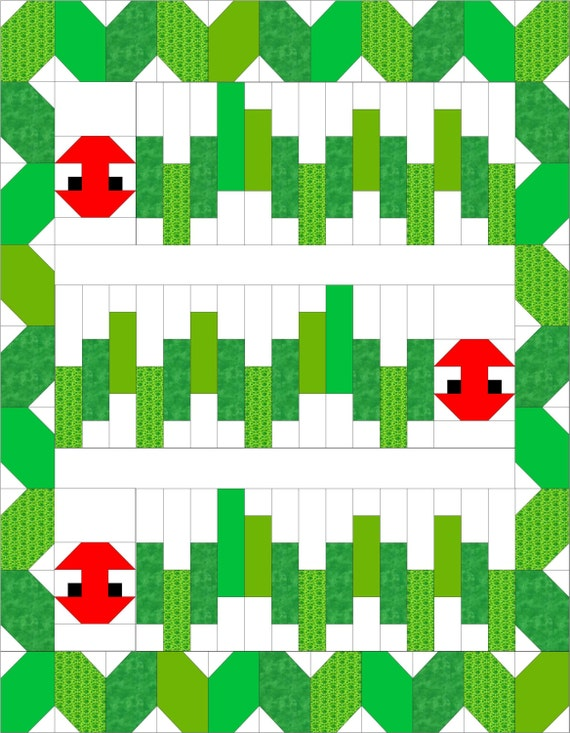 Scrappy Green Caterpillar Quilt PDF Pattern Cute Crib Or