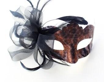 Women's Mask Bronze Black Animal Leopard Tiger Venetian Masquerade