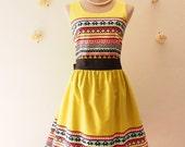 Green Summer Dress Chic Tribal Dress Lookbook Dress Green Party Dress Modern Vintage Sundress Boho Dress -SIZE XS_XL,Custom