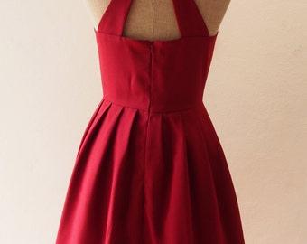 Midi Dark Red Prom Dress Maroon Blood Red Long Open Back Cut Off Back Dress, Burgundy Bridesmaid Dress , XS-XL, Custom