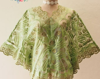 Autumn Poncho, Ponchos, Green Lace Poncho, Tribal, Wrap, Aztec, Women Butterfly Blouse, Boho Poncho Bohemian Blouse