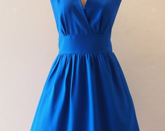 CLEARANCE SALE - Size S -Royal Blue Prom Dress Bridesmaid Dress Preppy Dress with Pockets Option, Party Dress