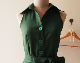 DOWNTOWN - Midi Dress, Skater Dress, Summer Dress, Forest Green Shirt Dress, Green Bridesmaid Dress, Christmas Dress, Skater Dress, custom