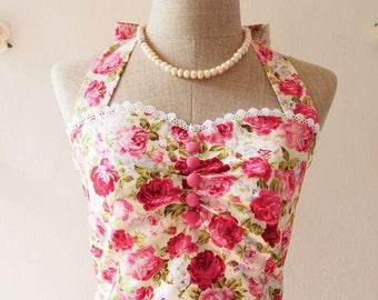 Flash Sale Pink Floral Dress Vintage Tea Party Dress Floral Bridesmaid Dress / Summer Dress Floral Sundress Wedding Bridal Shower Dress -...
