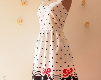 SALE Hello Kitty Dress Cute Party Dress Spring Summer Dress Casual Dress Whimsical Dress Vintage Tea Party Dress -Size S