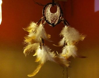 Double Dreamcatcher , Rooster Feathers, Gold, Brass and Silver Metallic Crow Beads, Brown Leather, 8.5x5inches, Sleep Better, Feel Better
