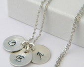 Silver Initial Necklace - Choose Up to 4 Disc Pendants