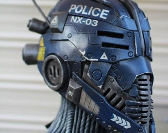The Nexialist MkIII police class helmet - Scifi unique one of a kind robot helm - ready to ship