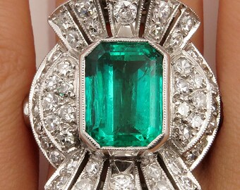 Spectacular Vintage GIA 5.25ctw COLOMBIAN Green EMERALD and Old Cut Diamond 18k Ring