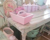Vintage  holder chippy pink wood double holder shabby chic cottage prairie