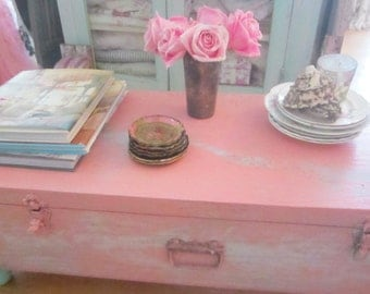 Vintage wood trunk sky blue and pink wood coffee table  shabby chic cottage chic