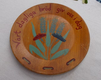 40s Swedish Wooden Folk Bread Plate Hand Painted Sweden LORDS PRAYER