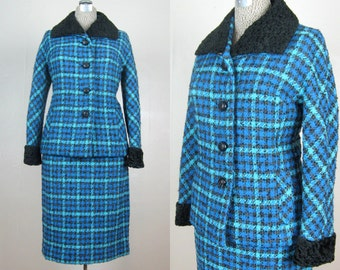 Vintage Early 1960s Suit 60s Blue Plaid Wool Suit with Black Persian Lamb Collar and Cuffs Gorgeous Size 8/10 Medium