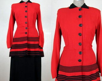 Vintage 1940s Red and Black Rayon Dress 40s Peplum Coat Style Dress Size L 10 31 Waist