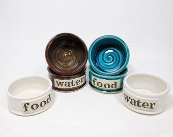 Pet Food Bowl Set, Medium Size, Pet Bowls, Personalized