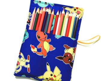 Pencil Roll, Pokemon fabric holds Pencils, Markers, Sharpies, Twistables, Pencil Case Organizer Rollup, Colored Pencils Holder Carrier