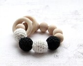 Sale! Black and white rattle. Monochrome, contrast toy. Teething ring toy with crochet wooden beads.