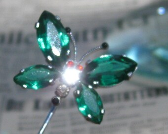 Czechoslovakia marked  vintage stick pin / Green Czech Glass Butterfly Pin