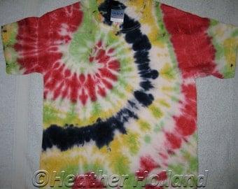 Tie Dyed T-Shirt Kids Size S Gildan Heavy Blend Cotton Multicoloured